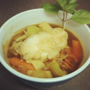 Veggie Curry Soup with Dumplings